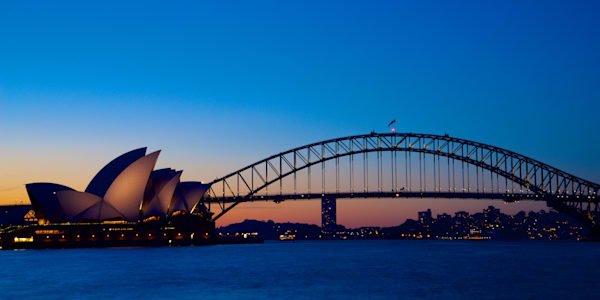 Sydneys Icons Sunset - Sydney Habour Bridge Opera House Australia Landscape | Sunset