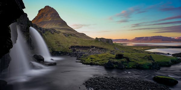 Sunset Falls - Kirkjufellsfoss Waterfall Kirkjufell Snaefellsness Peninsular Near Grundarfjordur Iceland | Limited Edition Sunset