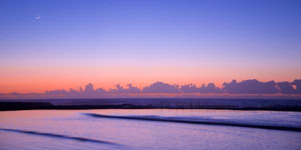 Pastel Moon - Canoe Pool Newcastle Ocean Baths NSW Australia | Dawn Sunrise