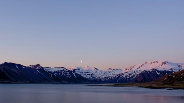 Moon Rise Mountains - Kolgrafarfjördur Near Grundarfjordur Iceland | Moonrise