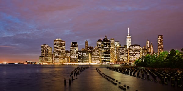 Manhattan Under Lights - Brooklyn Bridge Park NYC New York USA | Nightscape Sunset Limited Edition