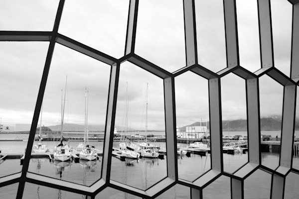 Geometric Waterview - Harpa Reykjavik Iceland | Black & White