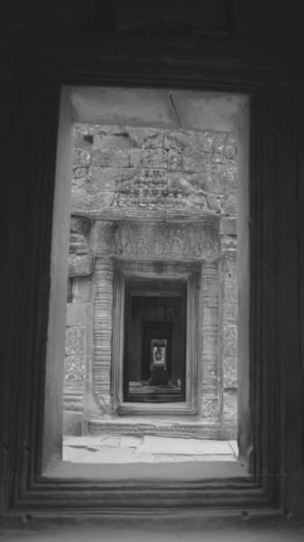 Doors Of Time - Siem Reap Angkor Cambodia | Black & White