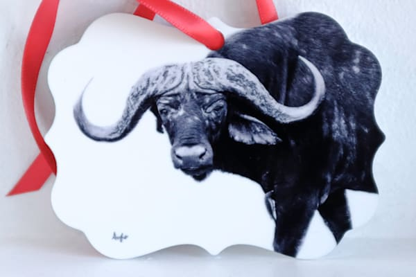 South African water buffalo metal ornament