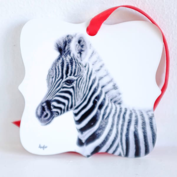 Baby zebra in black and white metal ornament