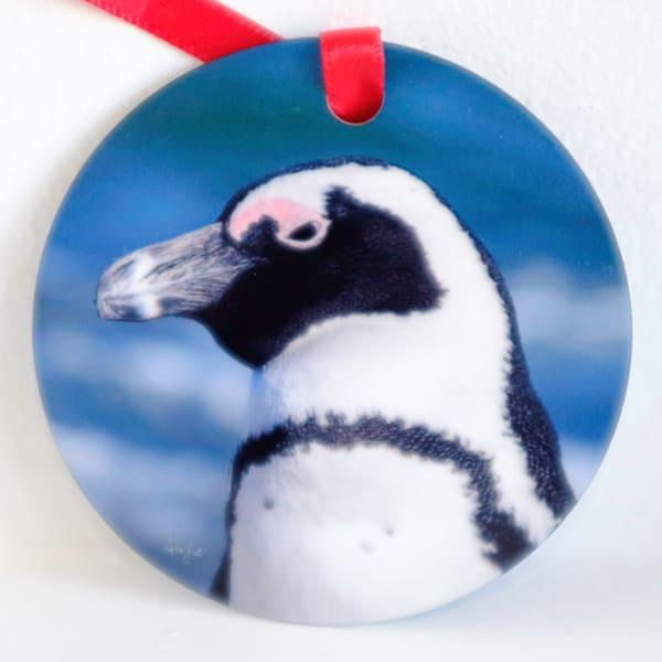 African penguin circle metal ornament