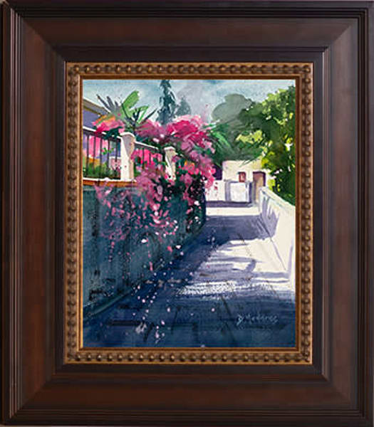 Street of Bougainvillea Wall Art Decor