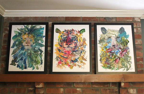 Lion Tiger Bear Trio, Original Paintings