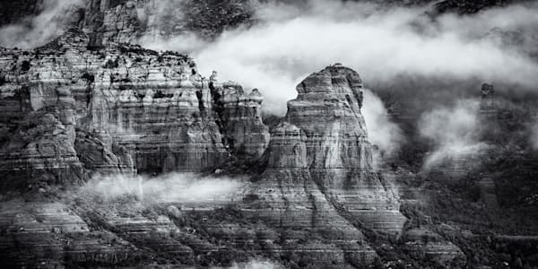 Clouds in the Sedona Arizona desert in Black and White