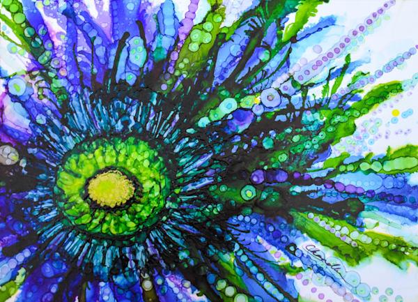 Blue, green, vibrant, explosive, organic