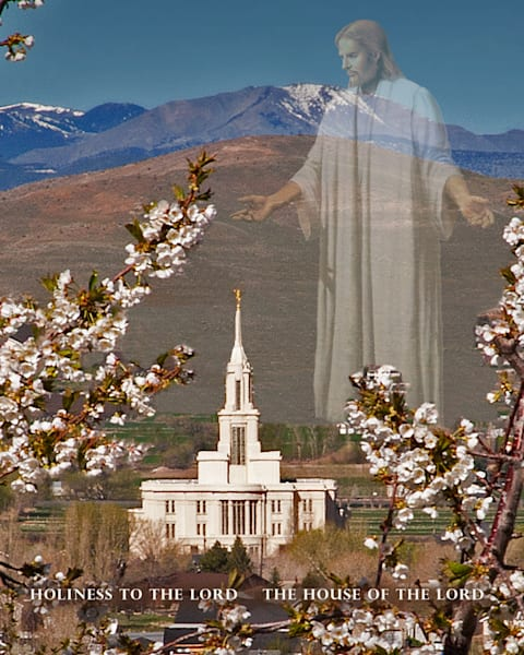 Apple Blossom Temple with Christus in Payson, Utah