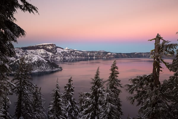 Crater Lake Winter Sunset
