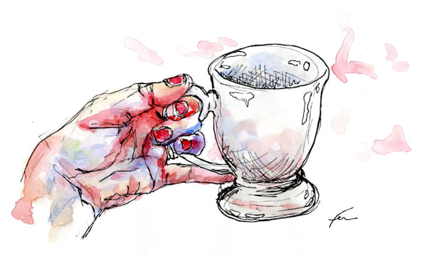 Hand Study with Tea Cup