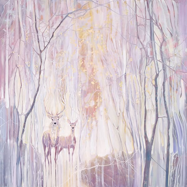 oil painting ethereal white deer in a white forest