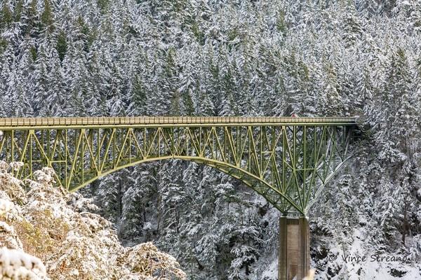 Fine art prints of snow covered Deception Pass Bridge