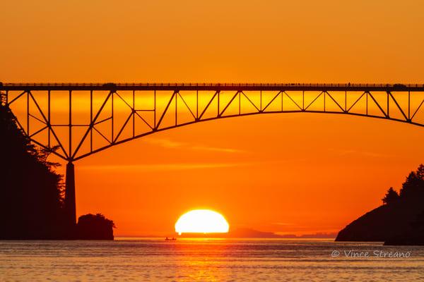 Fine art prints of sun setting under Deception Pass Bridge