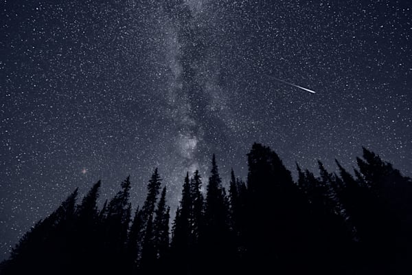 Mars & Meteor Over The Rockies Photograph for sale as fine art by Mike Jensen