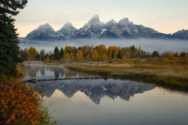 Grand Tetons a Foggy Morning