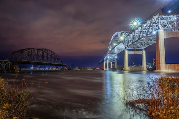 Duluth's Blatnik Bridge at Night - Duluth Photos | William Drew