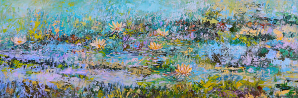 Pond painting with floating white water lilies.