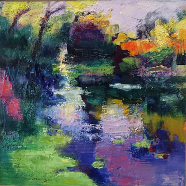 "Gorgeous plein air autumn landscape of lock 70 canal with algae. Oil painitng on wod panel 8'x8"" by Monique Sarkessian."