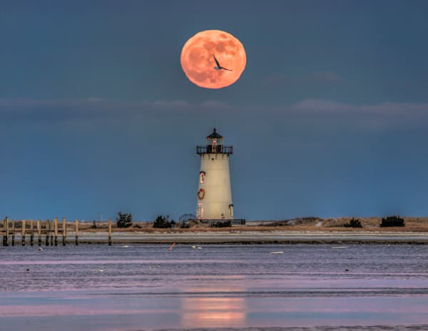 Edgartown Light Christmas Moon