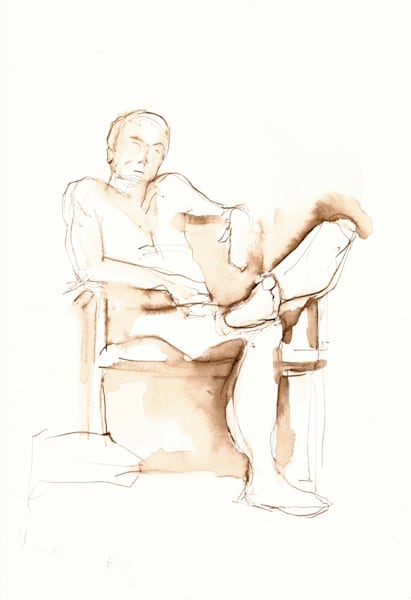 Original Ink Figure Drawing Male Seated
