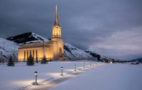 LDS Temple in Star Valley Wyoming in Winter
