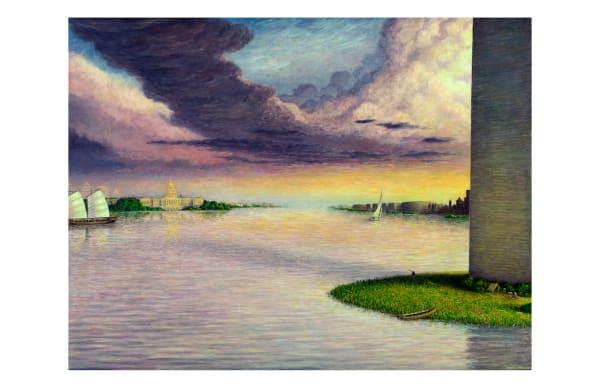 Sunset on the Potomac 11 x 17 inch ecoprint
