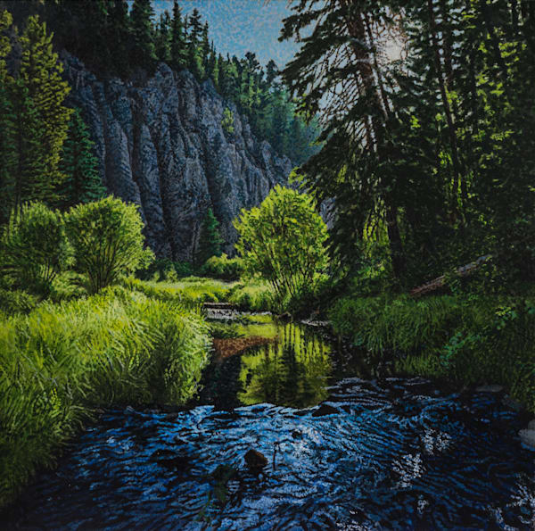 acrylic painting , jemez river , pointillism , new mexico , jemez wilderness , Landscape , painting, art