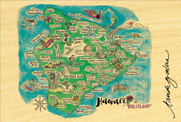Big Island Watercolor Map postcard