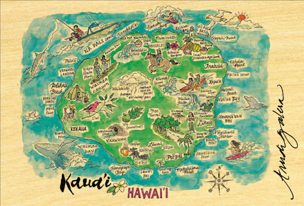 Kauai Watercolor Map postcard