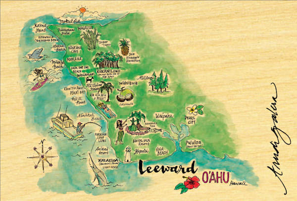 Leeward Watercolor Map postcard