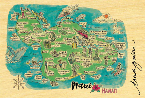 Maui Watercolor Map postcard