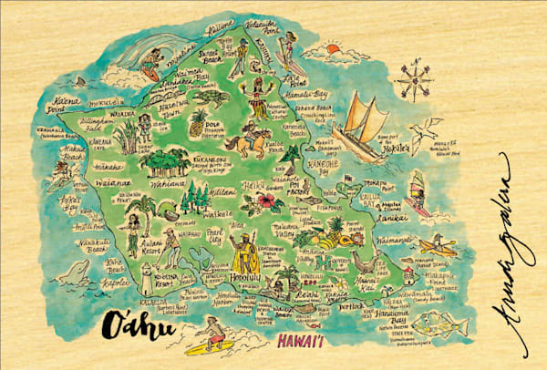 Oahu Watercolor Map postcard