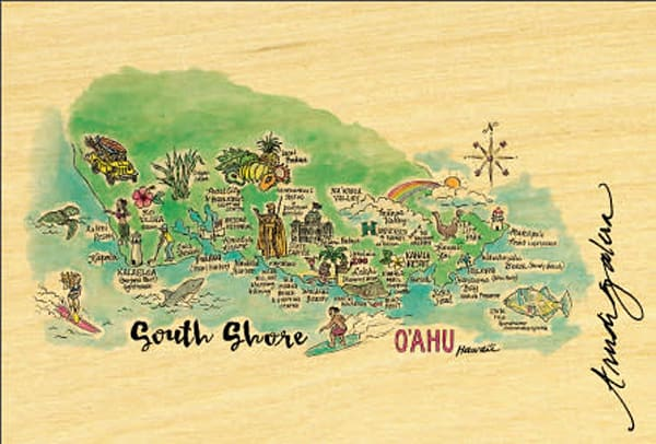South Shore Watercolor Map postcard
