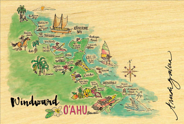 Windward Watercolor Map postcard