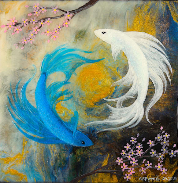 Fighting fish painting: Shop Print / Errymil Batol art