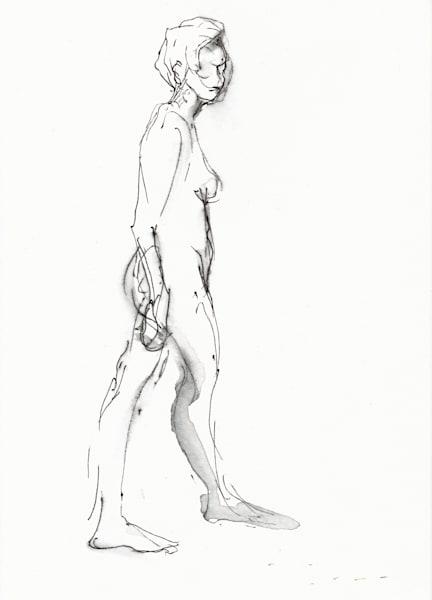 Original Ink Drawing Standing Female Nude in Black Ink