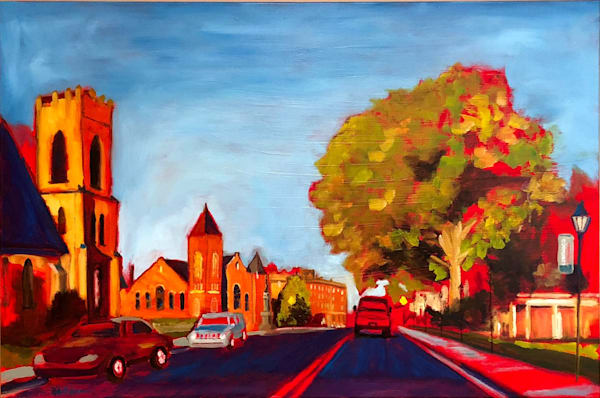Late Day High Street in Farmville, VA | Fine Art Oil Painting by Rick Osborn