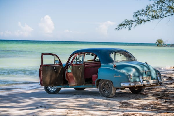Fine Art Prints, 1950's Chevrolet Deluxe on Cuban Beach