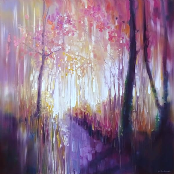 October Glows. woodland path abstract landscape painting in rainbow colours
