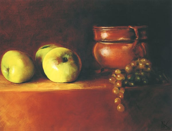 A Copper Pot Apples and Grapes