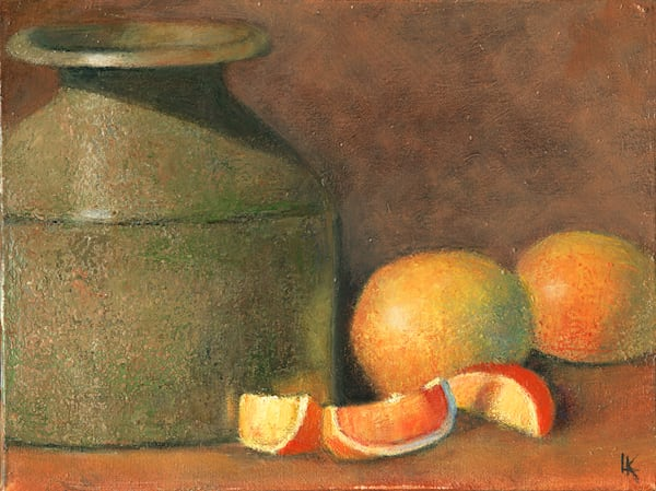 A Stone Crock and Grapefruit