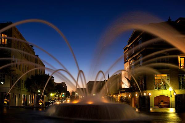 Waterfront Park Fountain Twilight