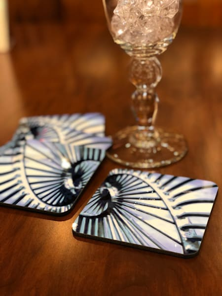 Spiral Blue Coaster Set