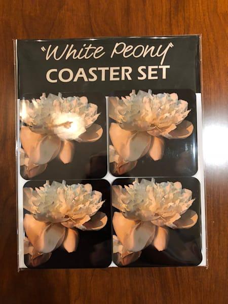 White Peony Coaster Set