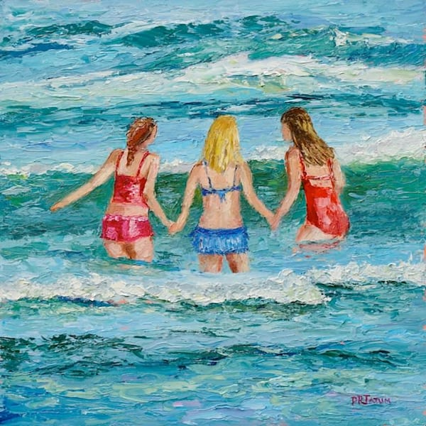 beach, girls-playing, textured, original, painting