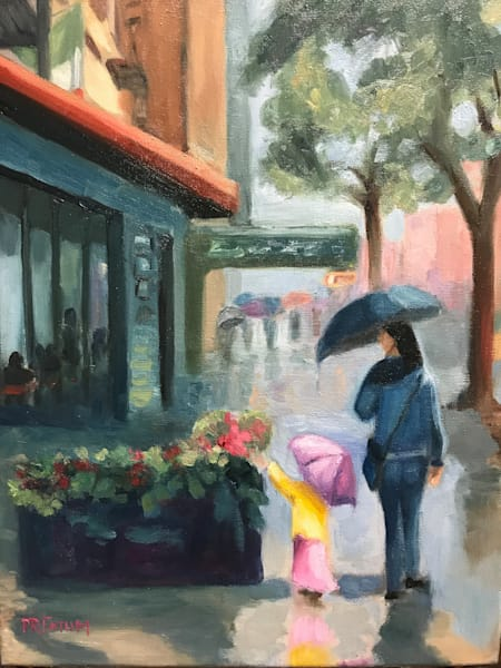 rain, manhattan, umbrellas, cafe, flowers
