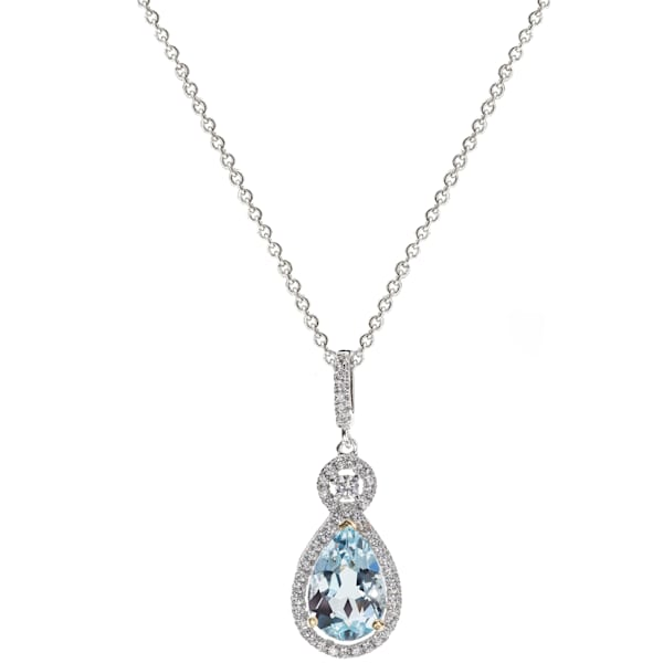 Silver Blue Topaz Necklace by Bling by Wilkening